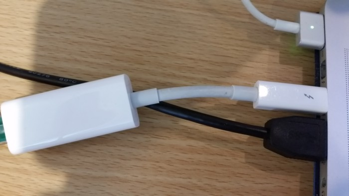 The offending Thunderbolt to Ethernet adapter.