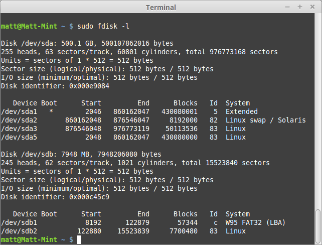 Using fdisk -l to locate the SD Card.