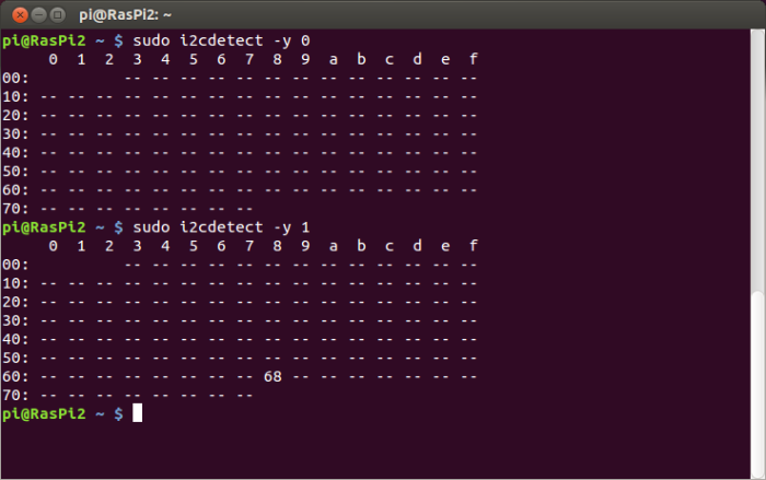 sudo i2cdetect -y 0 & sudo i2cdetect -y 1