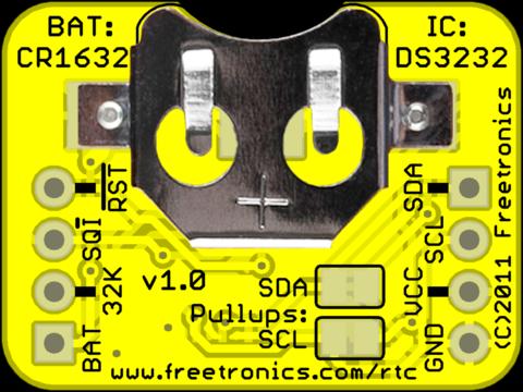 Freetronics RTC - Underside view.
