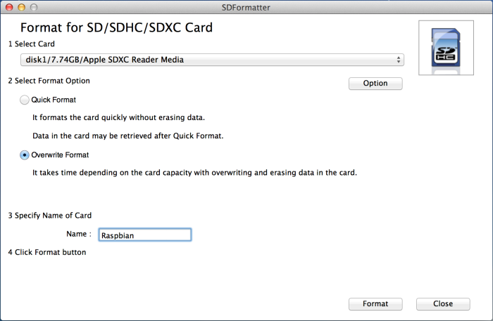 The SD Association Format Tool