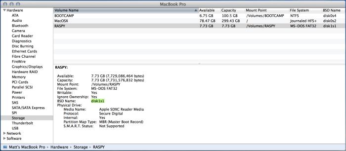 3) Storage and Volume info / BSD Name (note mine in green)