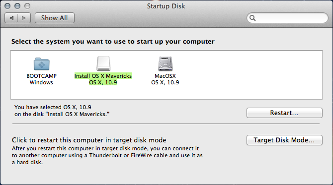 The OSX Startup Disk menu.