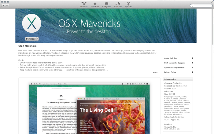 OSX 10.9 Mavericks - App Store Page