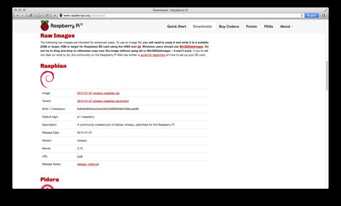 Raspbian Download Page with SHA-1 Checksum