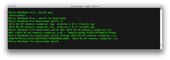 OSX Calculating Checksums / Hashes