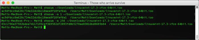 shasum OSX